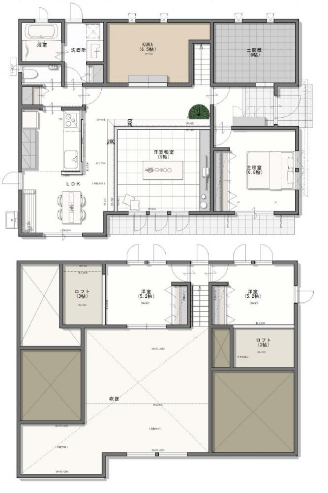 吹き抜けのある人気の1.5階平屋建て。