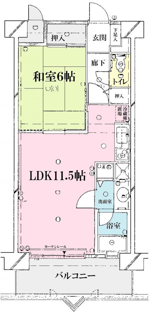 家族が集まるリビングと、お休みになる和室を備えた1LDKのお部屋です