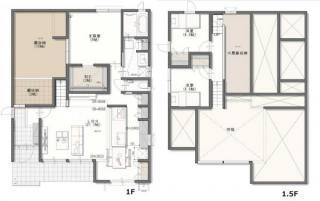 人気の1.5階建。LDKは21.7帖+高天井で解放感のある空間です♪