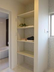 洗面室収納もばっちり!タオルや洗剤等、物が増えるので嬉しい収納です♪