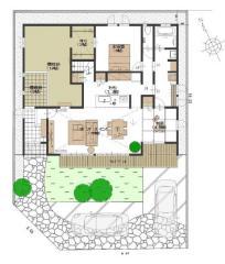 駐車は2台可能。南側庭にはウッドデッキがございます。
